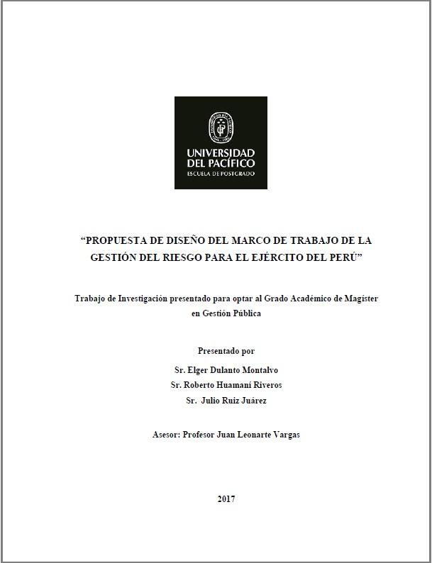 Propuesta de diseño del marco de trabajo de la gestión del riesgo ...
